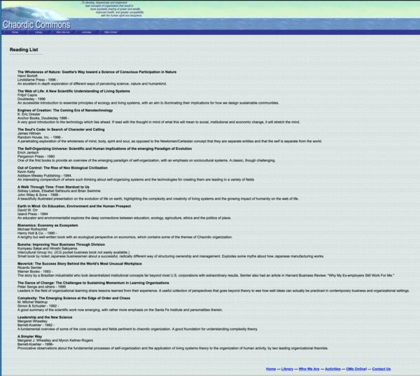 Chaordic Commons reading list