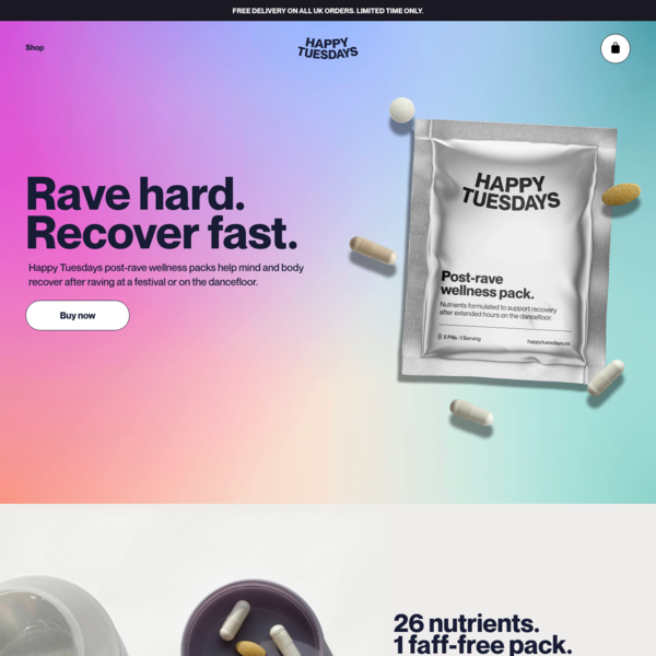 Post-rave wellness packs | Rave recovery supplement | Comedown