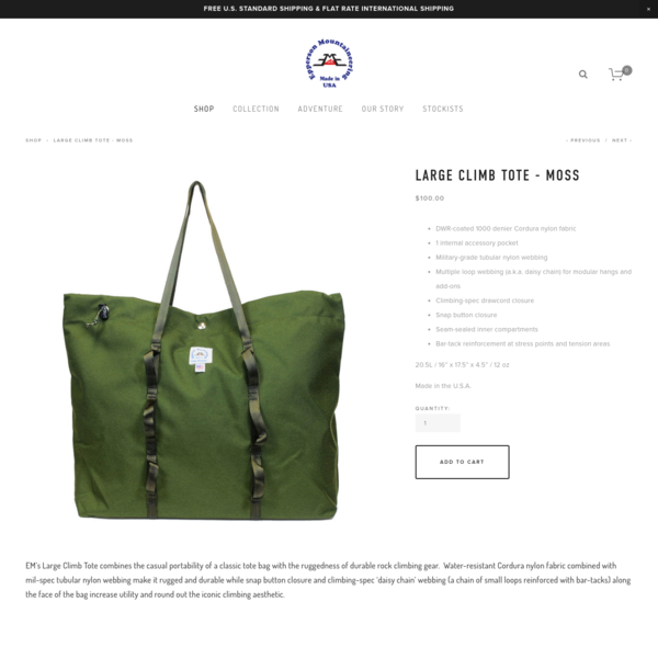 Large Climb Tote - Moss