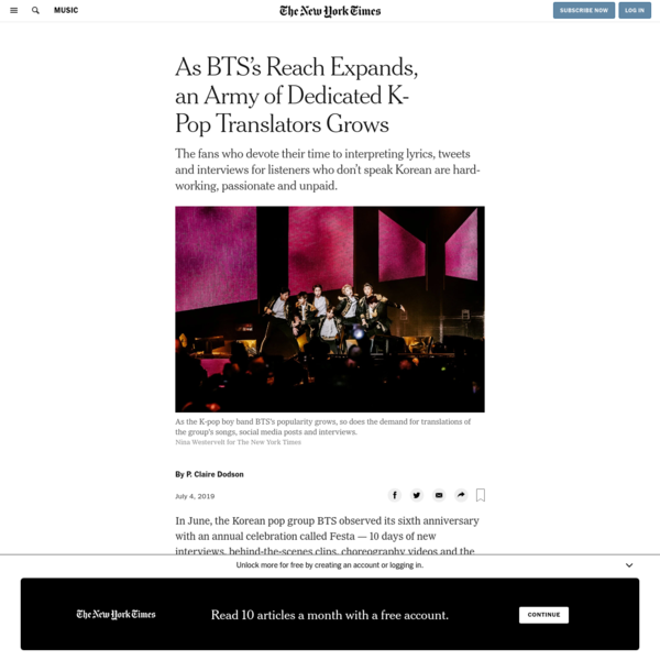 As BTS's Reach Expands, an Army of Dedicated K-Pop Translators Grows