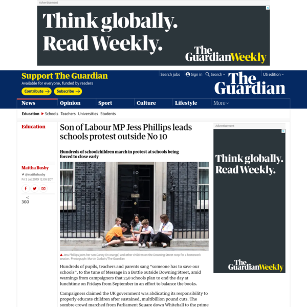Son of Labour MP Jess Phillips leads schools protest outside No 10 | Education | The Guardian