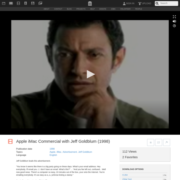 Apple iMac Commercial with Jeff Goldblum (1998) : Free Download, Borrow, and Streaming : Internet Archive