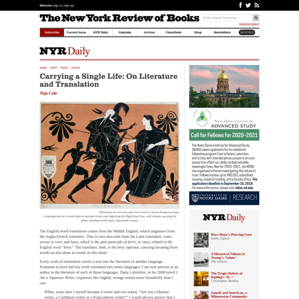 Carrying a Single Life: On Literature and Translation | by Teju Cole | NYR Daily | The New York Review of Books