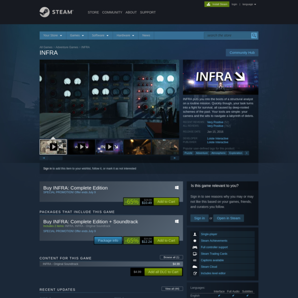 Save 65% on INFRA on Steam