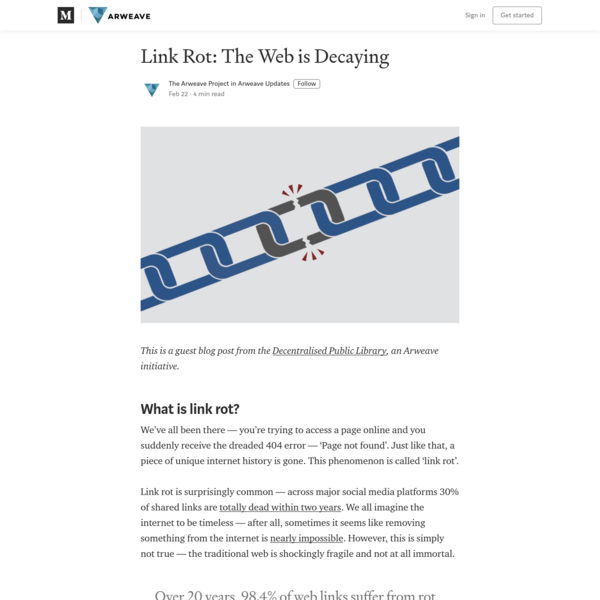Link Rot: The Web is Decaying - Arweave Updates - Medium