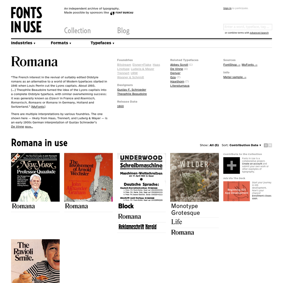 """Romana in use. """"The French interest in the revival of suitably edited Oldstyle romans as an alternative to a world of Modern typefaces started in 1846 when Louis Perrin cut the Lyons capitals. About 1860, [...]"""