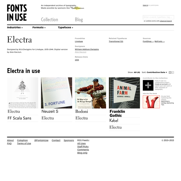 Electra in use. Designed by W.A.Dwiggins for Linotype, 1935-1944. Digital version by Alex Kaczun.