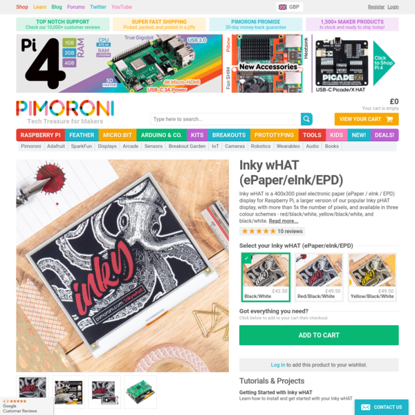 Inky wHAT (ePaper/eInk/EPD) - Pimoroni