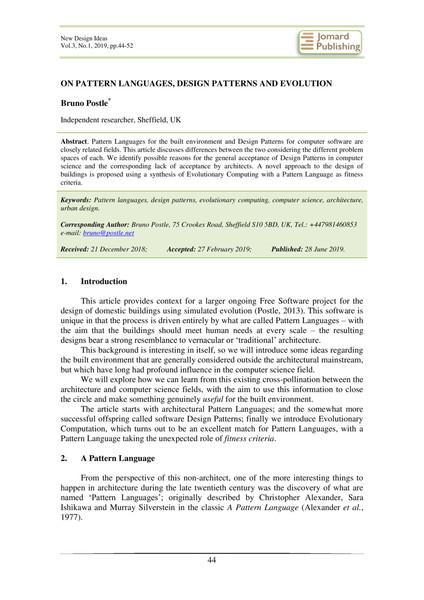 ON PATTERN LANGUAGES, DESIGN PATTERNS AND EVOLUTION - Bruno Postle