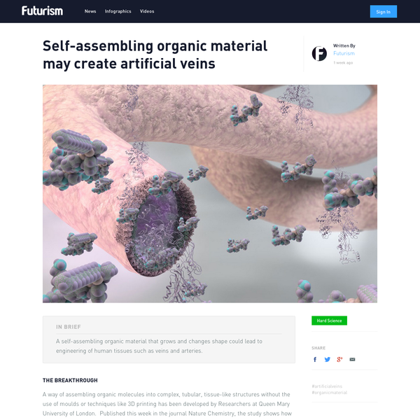 In Brief A self-assembling organic material that grows and changes shape could lead to engineering of human tissues such as veins and arteries. The Breakthrough A way of assembling organic molecules into complex, tubular, tissue-like structures without the use of moulds or techniques like 3D printing has been developed by Researchers at Queen Mary University of London.