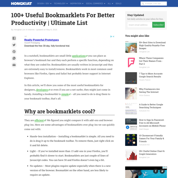 100+ Useful Bookmarklets For Better Productivity | Ultimate List - Hongkiat