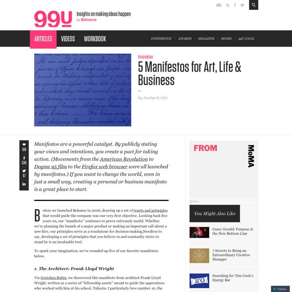 5 Manifestos for Art, Life & Business