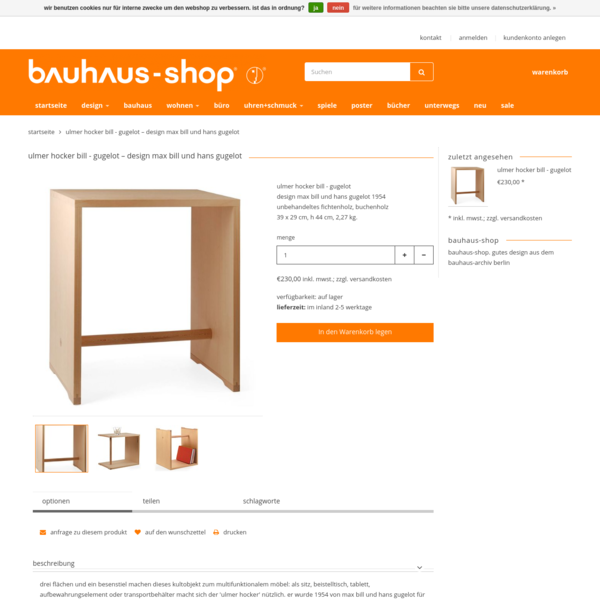 ulmer hocker bill - gugelot - design max bill und hans gugelot | bauhaus-shop