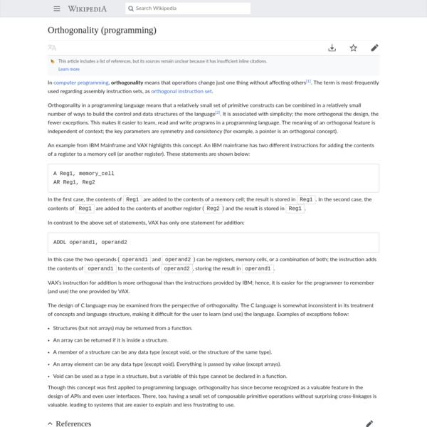 Orthogonality (programming) - Wikipedia