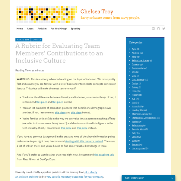 A Rubric for Evaluating Team Members' Contributions to an Inclusive Culture