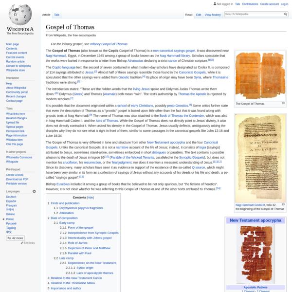 Gospel of Thomas - Wikipedia