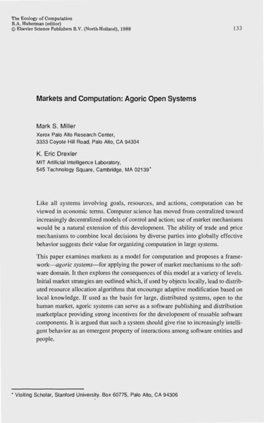 Markets & Computation: Agoric Open Systems