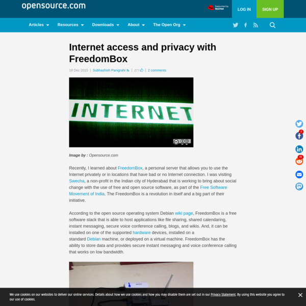 Internet access and privacy with FreedomBox