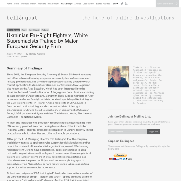 Ukrainian Far-Right Fighters, White Supremacists Trained by Major European Security Firm - bellingcat