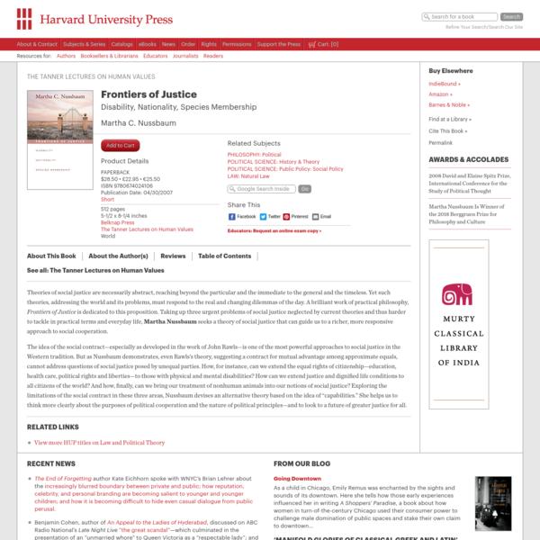 Frontiers of Justice - Martha C. Nussbaum | Harvard University Press