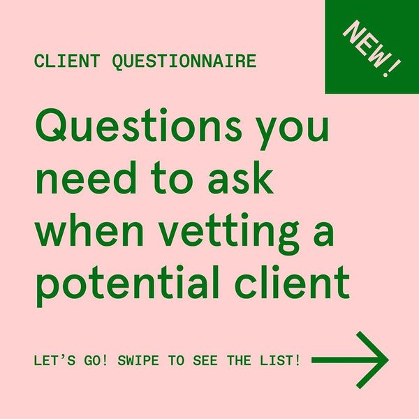 Hey all - Happy Monday 🙂 Land more design projects with this new client questionnaire! Here are the questions I ask every po...