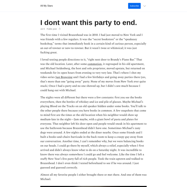 I dont want this party to end.