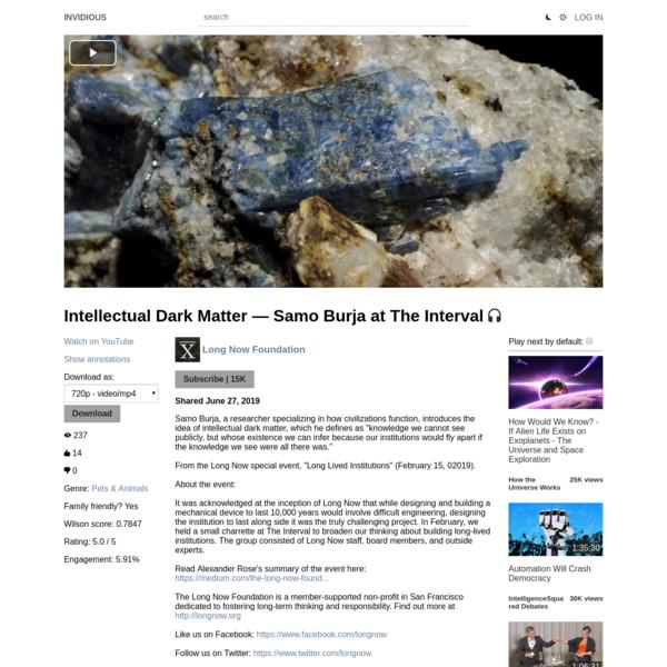 Intellectual Dark Matter - Samo Burja at The Interval