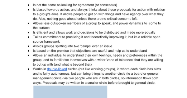 Notes from consent based decision making