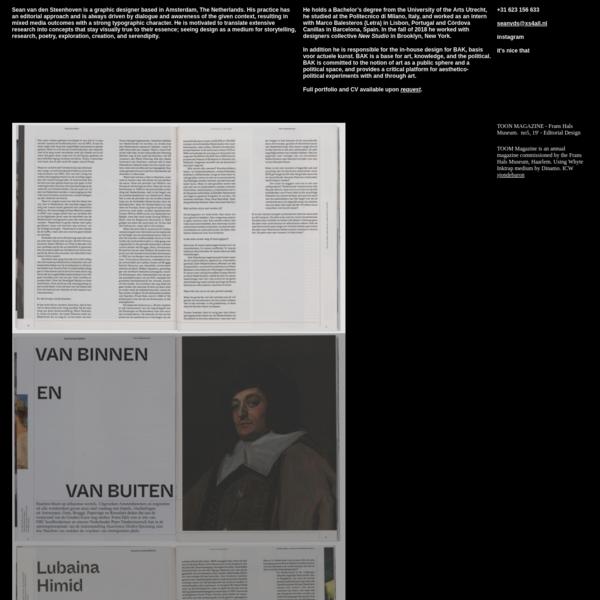 Sean van den Steenhoven - Graphic/Editorial Design