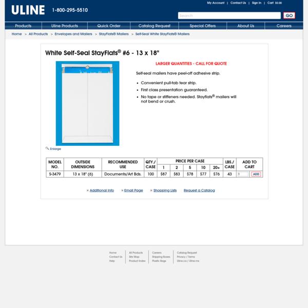 "White Self-Seal StayFlats® #6 - 13 x 18"" S-3479 - Uline"