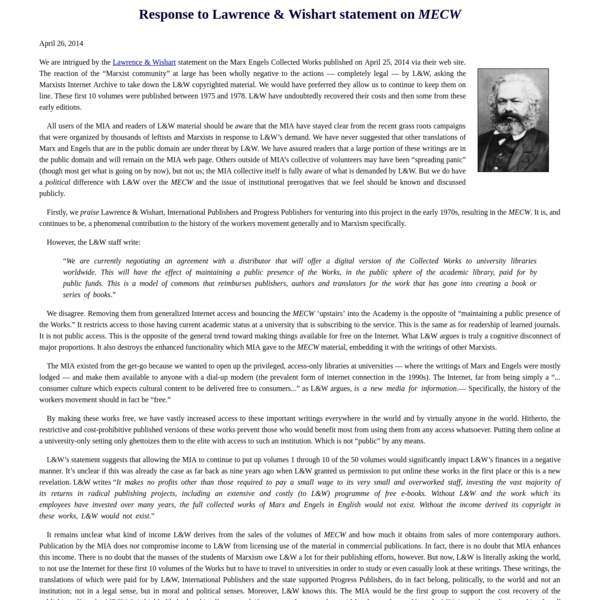 Response to Lawrence & Wishart statement on MECW