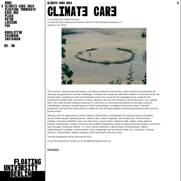 CLIMATE CARE 2019 | Floating University Berlin