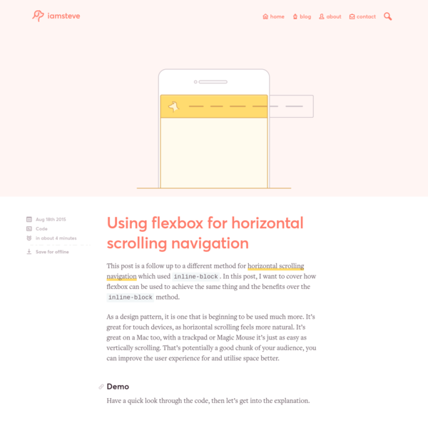 Using flexbox for horizontal scrolling navigation • iamsteve