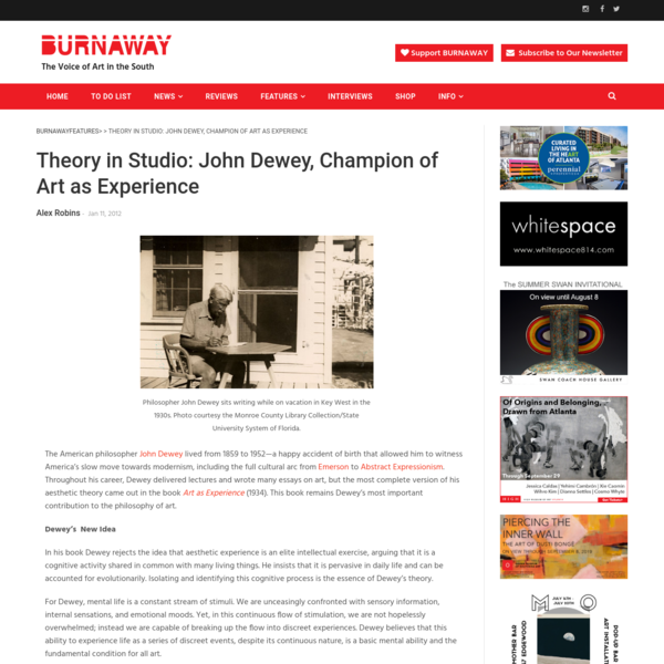 Theory in Studio: John Dewey, Champion of Art as Experience - Burnaway