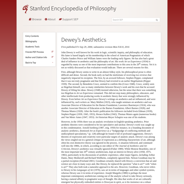 Dewey's Aesthetics (Stanford Encyclopedia of Philosophy)