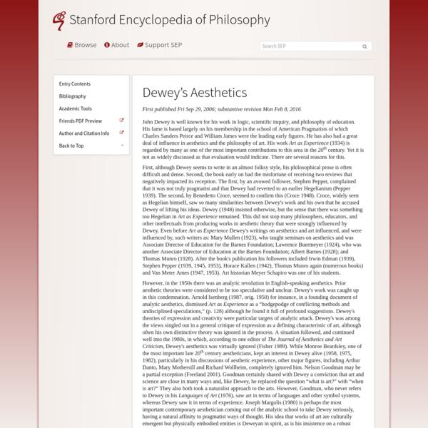 Dewey's Aesthetics (Stanford Encyclopedia of Philosophy)