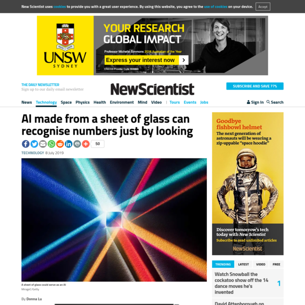 AI made from a sheet of glass can recognise numbers just by looking | New Scientist