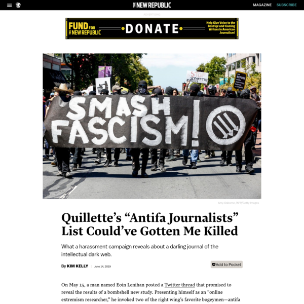 "Quillette's ""Antifa Journalists"" List Could've Gotten Me Killed"