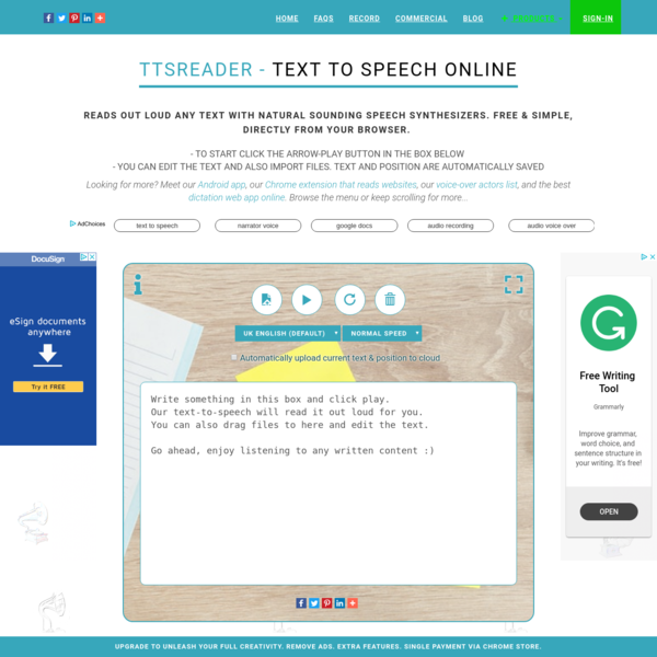 Text To Speech Reader. Online, Accurate, Free & Unlimited | TTSReader