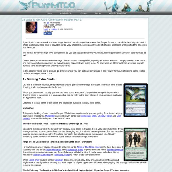 18 Ways to Get Card Advantage in Pauper. Part 1. | PureMTGO