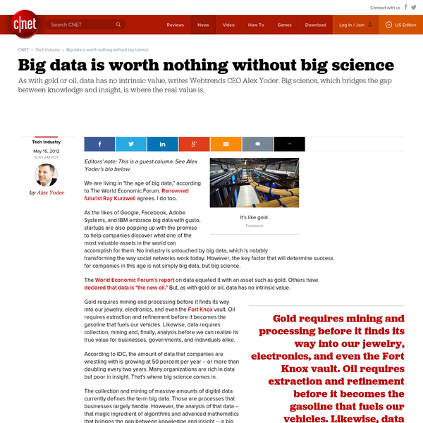 """Editors' note: This is a guest column. See Alex Yoder's bio below. We are living in """"the age of big data,"""" according to The World Economic Forum. Renowned futurist Ray Kurzweil agrees. I do too."""