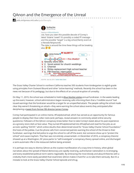 QAnon and the Emergence of the Unreal by Ethan Zuckerman