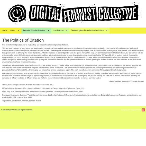 Digital Feminist Collective - The Politics of Citation