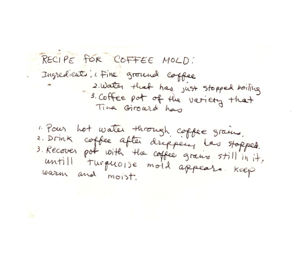 Brenda Miller - Untitled (Recipe for Coffee Mold), n.d.