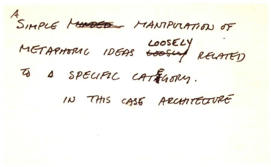 Gordon Matta-Clark - Untitled (Handwritten note on the subject of Anarchitecture), 1973-1976
