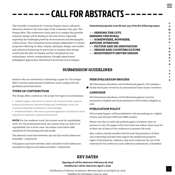 Call for abstracts - Cumulus Bogotá 2019