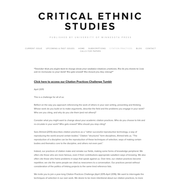 Citation Practices Challenge (Critical Ethnic Studies)