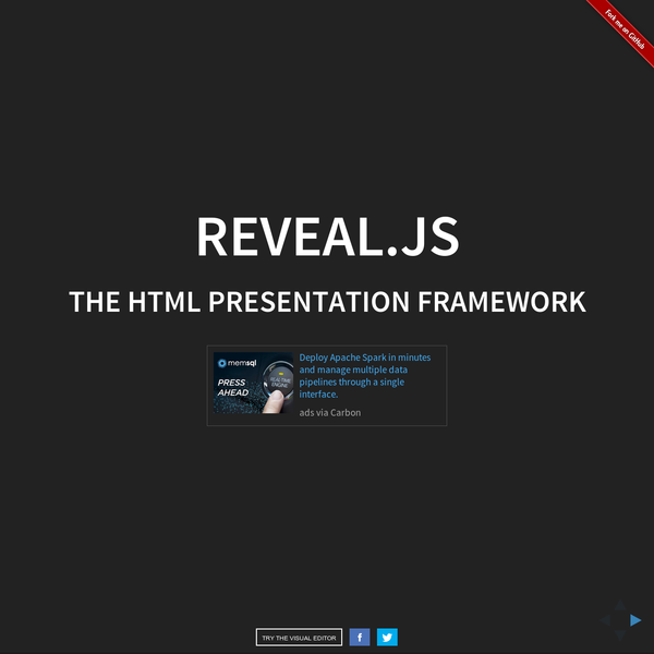 The HTML Presentation Framework reveal.js enables you to create beautiful interactive slide decks using HTML. This presentation will show you examples of what it can do. Slides can be nested inside of each other. Use the Space key to navigate through all slides. Nested slides are useful for adding additional detail underneath a high level horizontal slide.