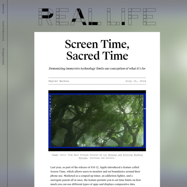 Screen Time, Sacred Time - Real Life