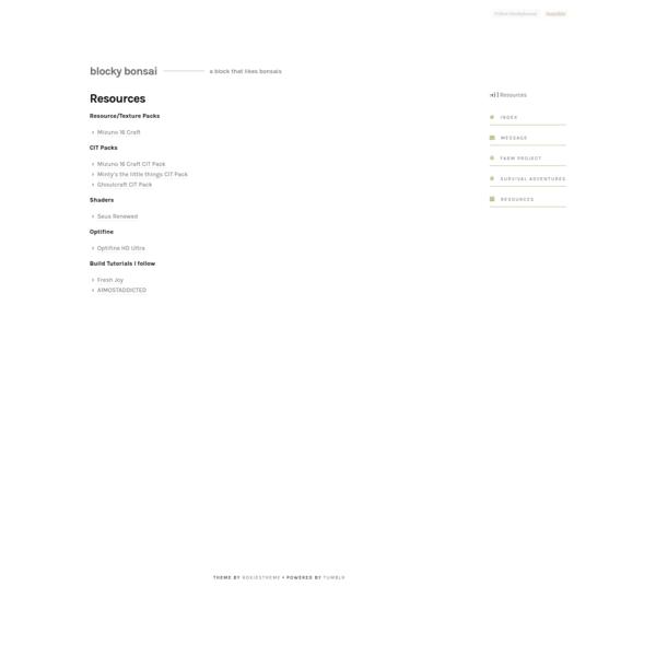 Blocky Bonsai — Resources